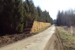 pile bois bord de route